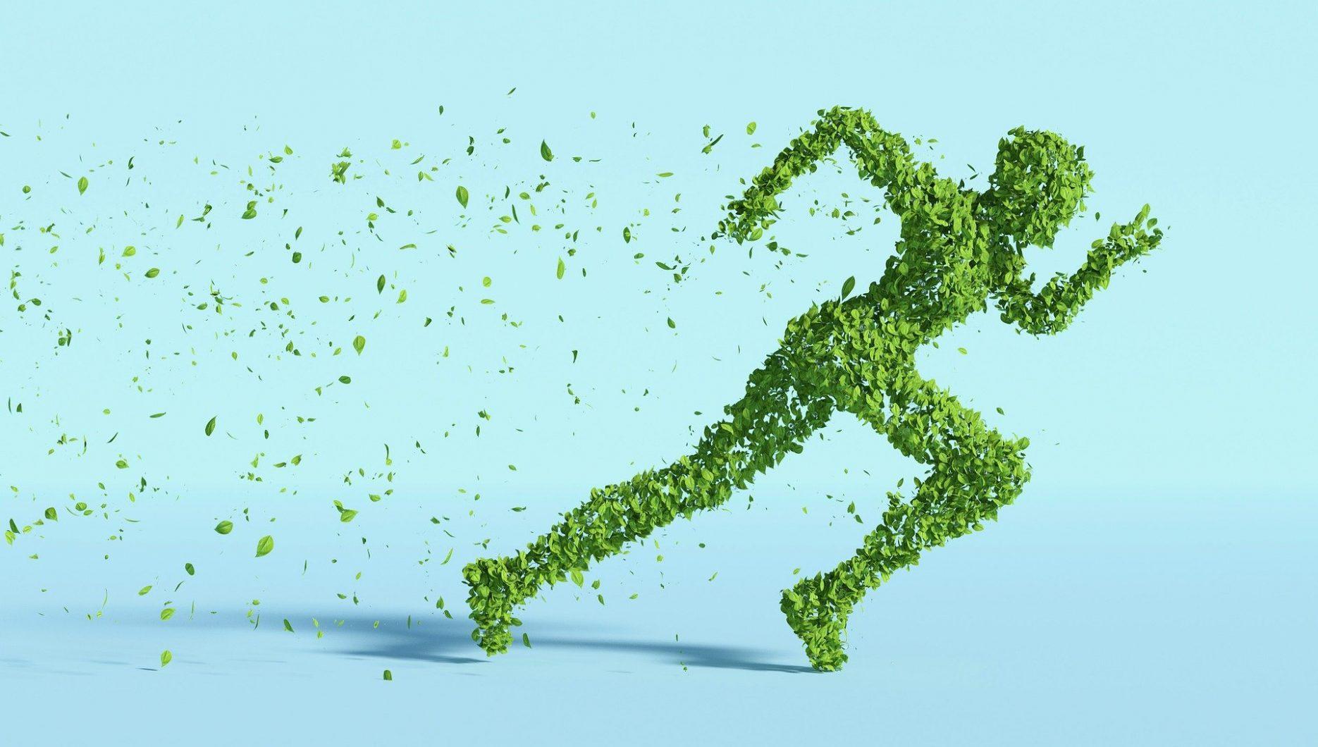 Das Bild zeigt eine sprintende Person, die aus grünen Blättern besteht.